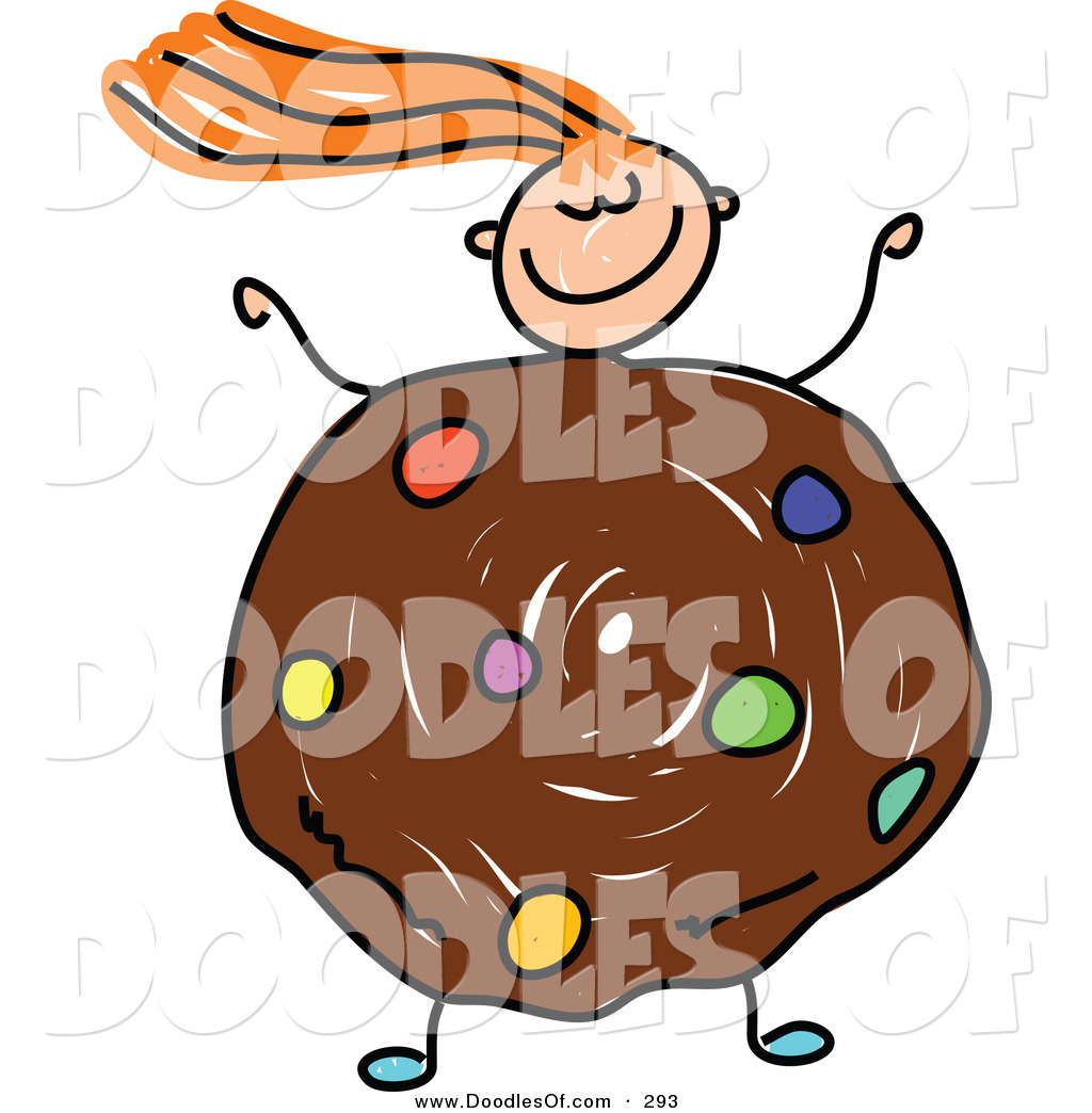 1024x1044 Vector Clipart Of A Childs Sketch Of A Happy Girl With A Cookie