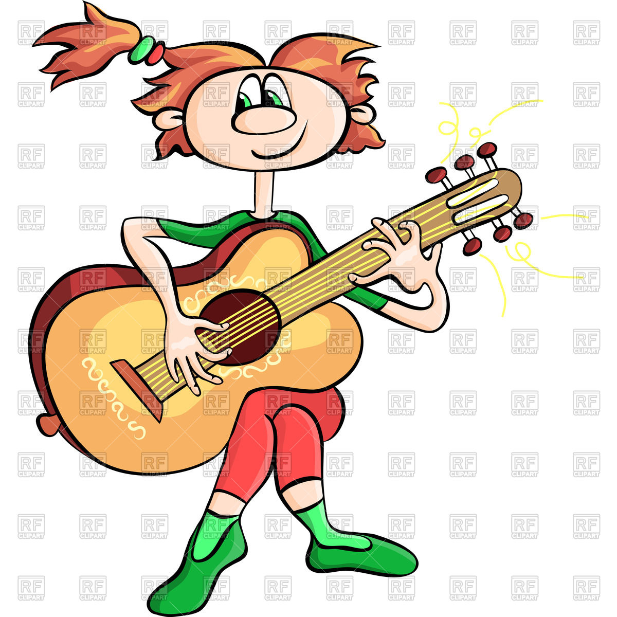 1200x1200 Funny Cartoon Girl Playing The Guitar Royalty Free Vector Clip Art