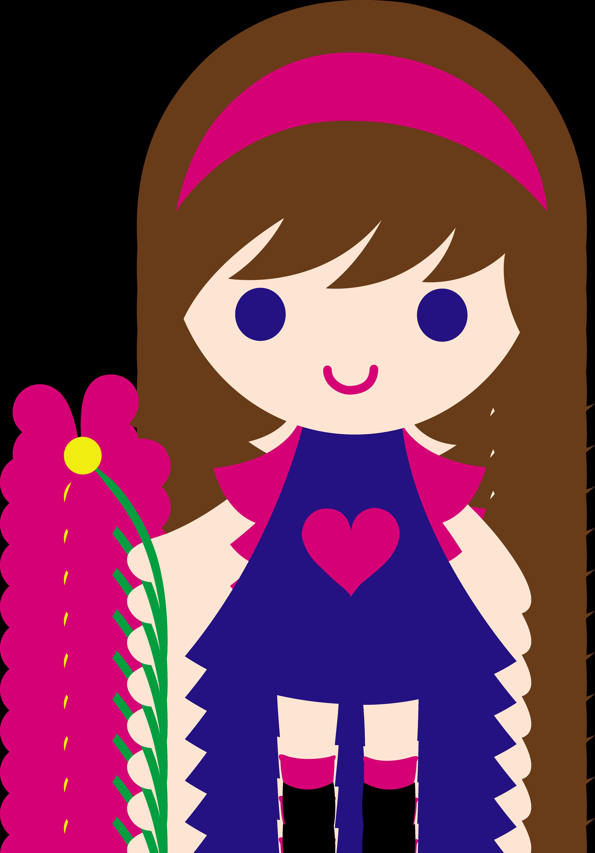 4330x6214 My Clip Art Of A Little Girl Holding A Pink Daisy. Sweet Clip
