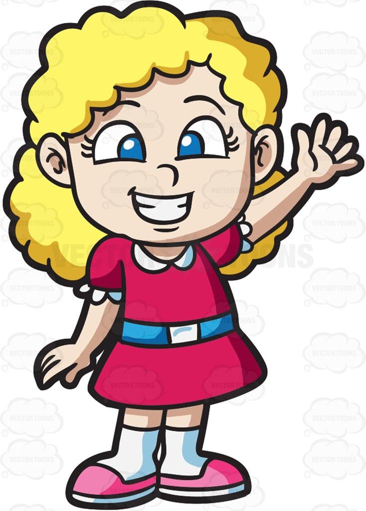 734x1024 An Excited Little Girl Cartoon Clipart Vector Toons