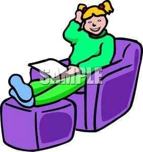 282x300 A Smiling Girl Sitting In A Chair Reading Clipart Picture