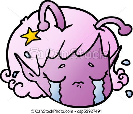 450x386 Cartoon alien space girl face crying eps vectors