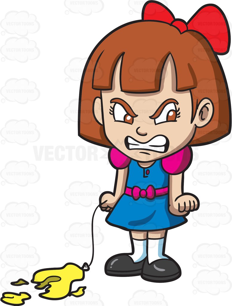 778x1024 An Angry Little Girl With A Popped Balloon Cartoon Clipart