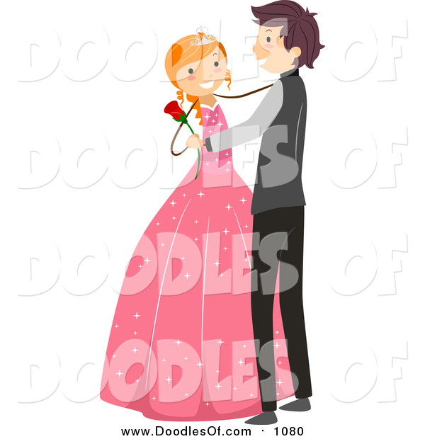 600x620 Vector Clipart Of A Doodled White Birthday Girl Dancing A Waltz