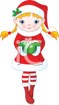 198x350 Cute Little Girl Dressed Like A Christmas Elf Holding A Snowflake