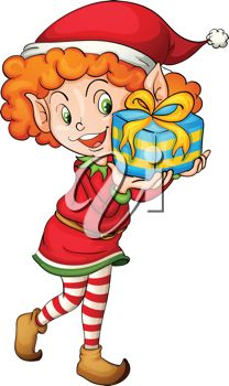 208x350 Picture Of A Little Girl Elf Holding A Gift In A Vector Clip Art