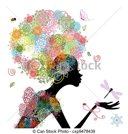 450x470 Fashion Girl With Hair Arabesque Eps Vectors