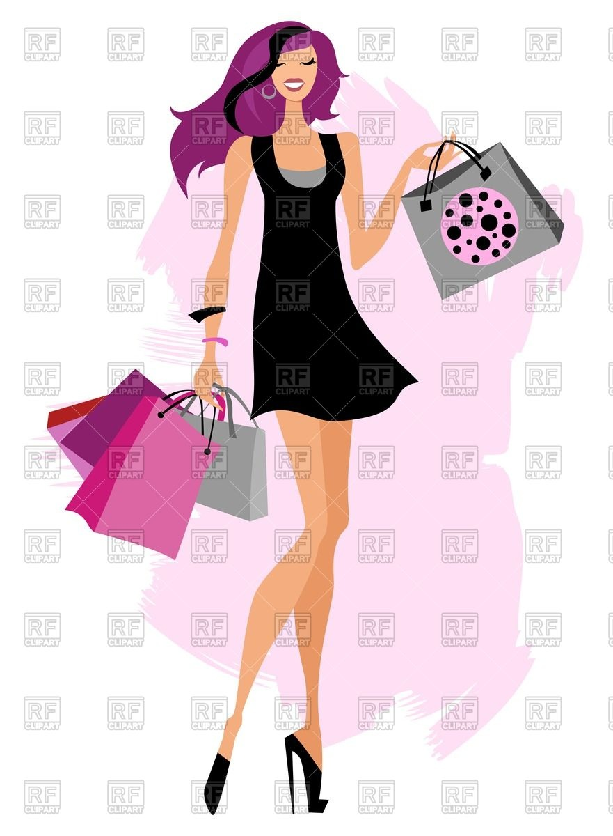 881x1200 Fashion Girl With Shopping Bags Vector Image Vector Artwork