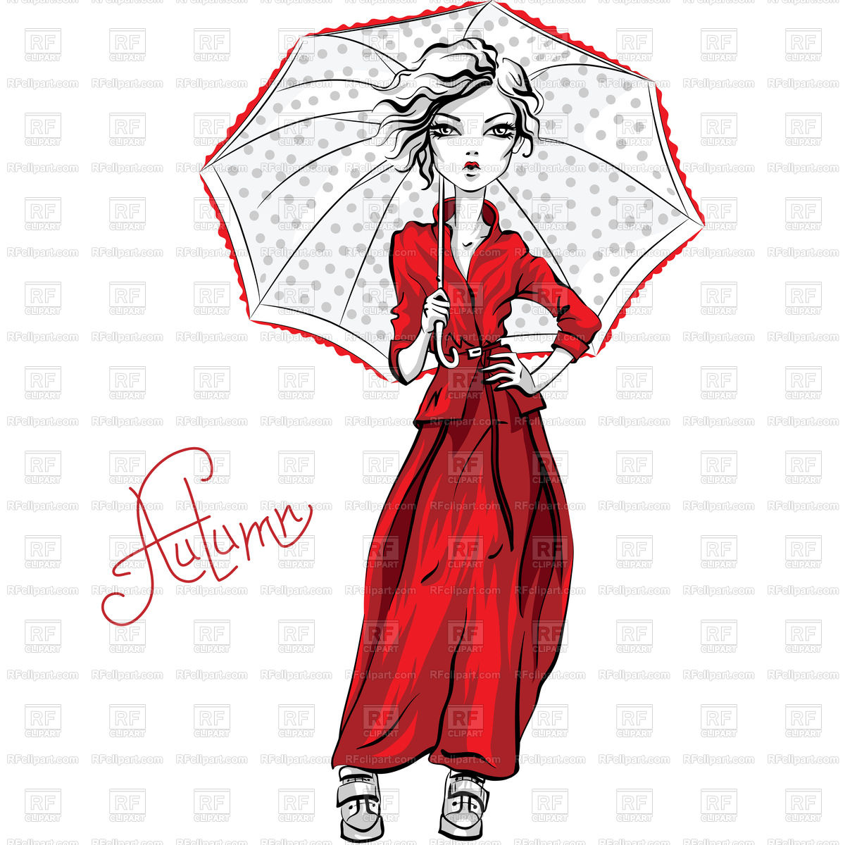 1200x1200 Fashion Hipster Girl With Umbrella Royalty Free Vector Clip Art