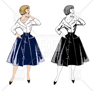 400x382 Stylish Fashion Dressed Girls. Retro Fashion Party. Royalty Free