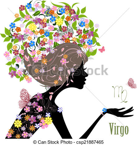 442x470 Zodiac Sign Virgo. Fashion Girl Clip Art Vector