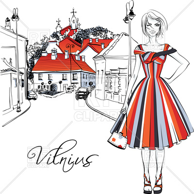 400x400 Cute Beautiful Fashion Girl In Dress In Vilnius, Lithuania Royalty