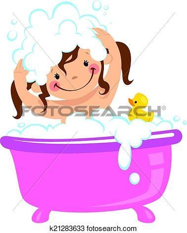 378x470 Baby Kid Girl Bathing In Bath Tub And Washing Hair Clipart Clip Art