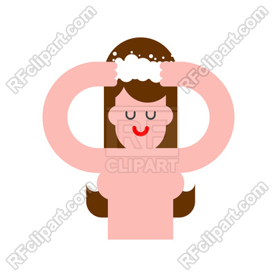 400x400 Girl Washes Her Hair Royalty Free Vector Clip Art Image