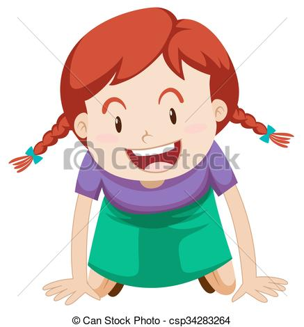437x470 Little Girl With Red Hair Illustration Clip Art Vector