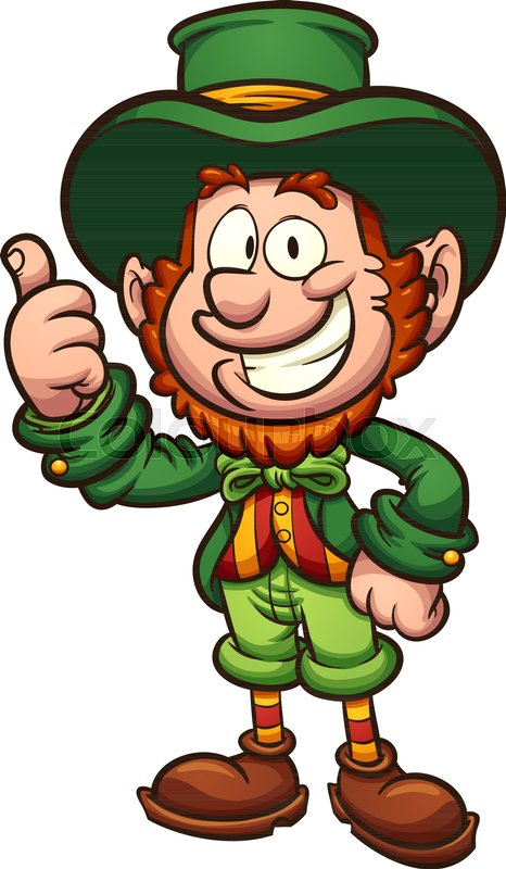466x800 Happy Cartoon Leprechaun With Thumbs Up. Vector Clip Art