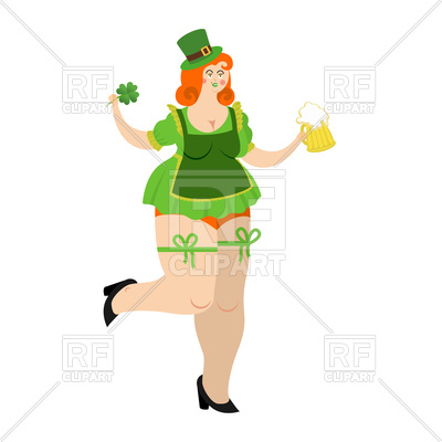 400x400 Leprechaun Girl With Beer Royalty Free Vector Clip Art Image