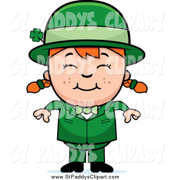 600x620 Vector Clip Art Of A Happy St Paddys Day Leprechaun Girl By Cory