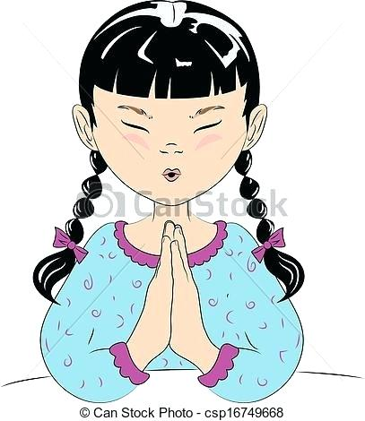 407x470 Praying Clip Art Child Praying A Vector Drawing Of A Young Girl