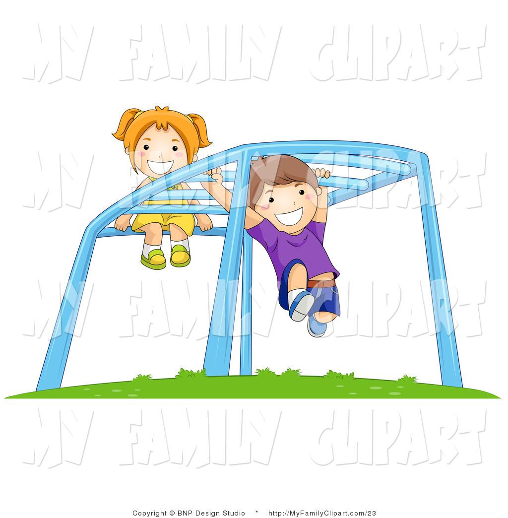 1024x1044 Cliprt Of Happy Boynd Girl Swinging On The Monkey Bars On