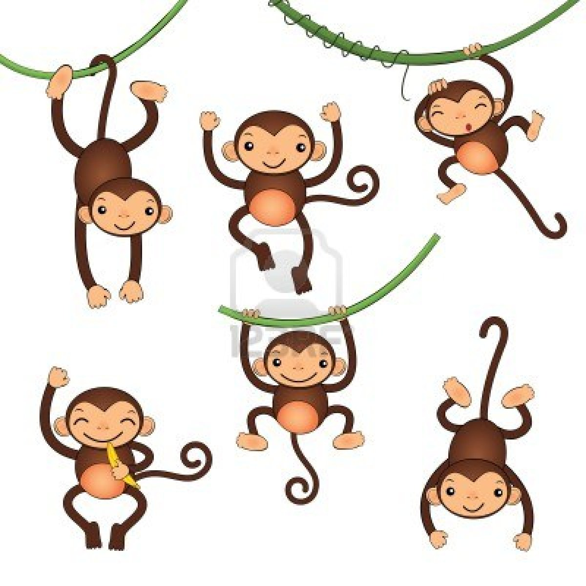 1200x1200 Hanging Monkey Cartoon Group