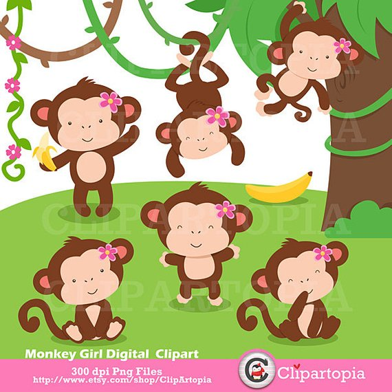 570x570 Monkey Girl Digital Clipart Cute Monkey Girls Clip Art