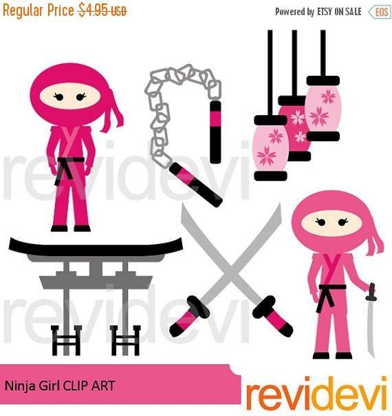 570x604 35% Off Sale Ninja Girl Clipart Pink Ninja Digital Clip Art Lls