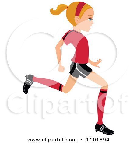 450x470 Clipart Blond Soccer Girl Player Kicking A Ball