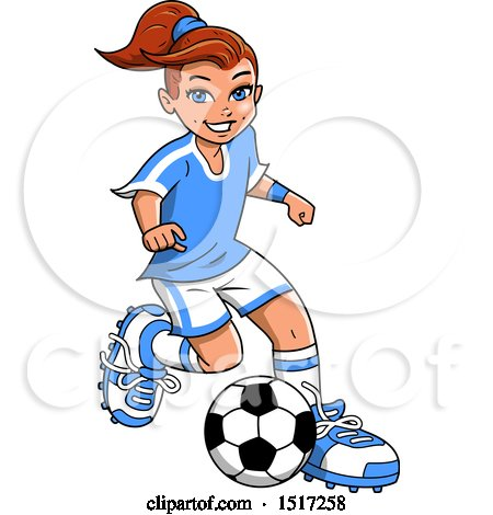 450x470 Clipart Of A Girl Playing Soccer