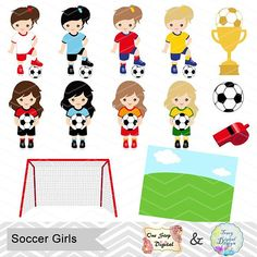 236x236 Digital Girls Soccer Clipart, Girl Soccer Digital Clip Art, Sport