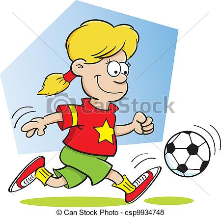 450x442 Cartoon Illustration Of A Girl Playing Soccer Vector