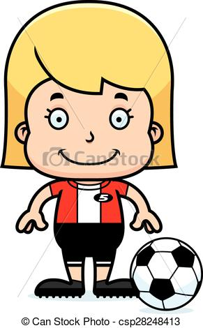 291x470 Cartoon Smiling Soccer Player Girl. A Cartoon Soccer Player