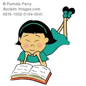 300x300 Clip Art Illustration Of An Asian Girl Reading A Book