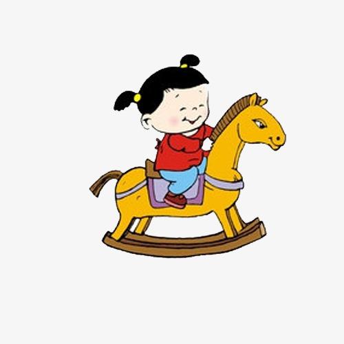 500x500 Creative Hand Painted Cartoon Girl Riding Horse, Girl, Riding