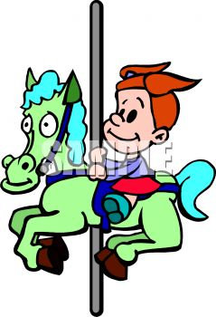 239x350 Picture Of A Girl Riding On A Horse And Carousel In A Vector Clip