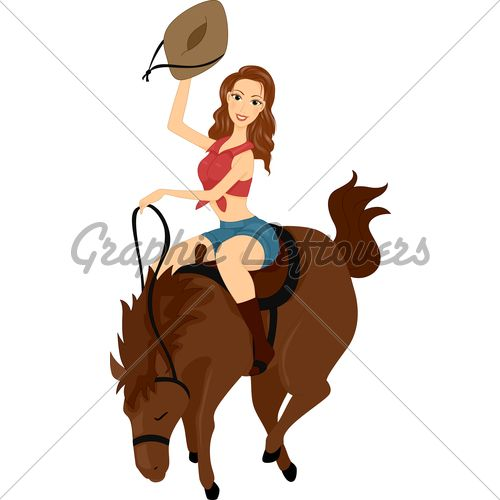 500x500 Cartoon Cowgirls Illustration Of A Girl Riding A Horse Wild