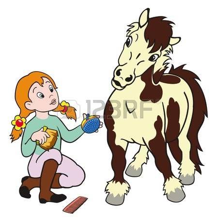 450x450 Horse Care,girl Grooming Pony,child Rider,equestrian Sport,cartoon