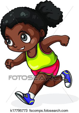 331x470 Clipart Black Girl Running Of A K17795773 Search Clip Art