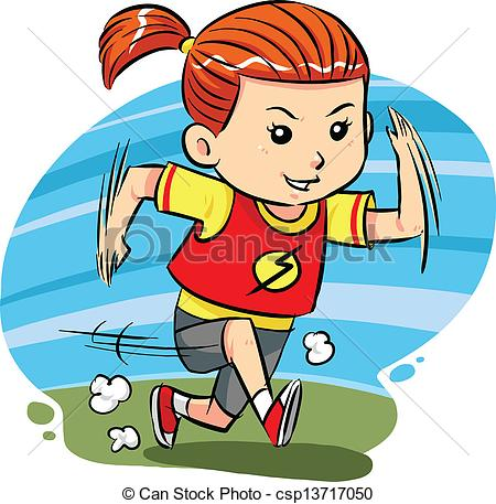 450x457 Running Girl. A Little Girl Do Running Exercise. Vector Eps8