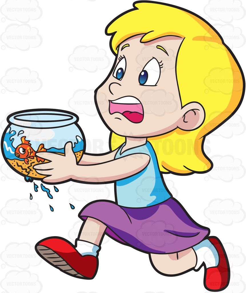 861x1024 A Panicking Girl Runs To Save Her Goldfish Cartoon Clipart