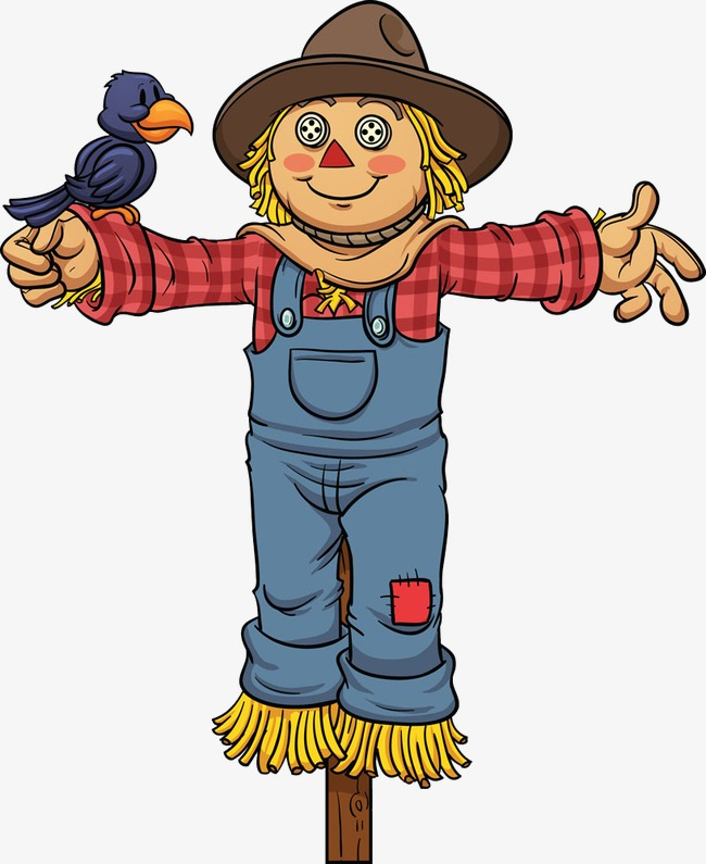 650x795 Girl Scarecrow, Hand Painted, Cartoon, Lovely Png Image