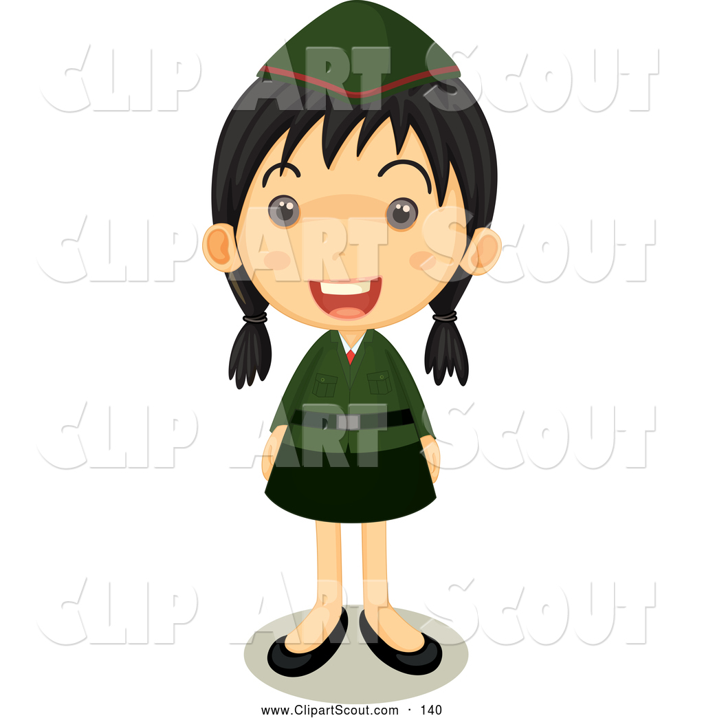 1024x1044 Clipart Of A Happy Girl Scout In Uniform Standing Proud By