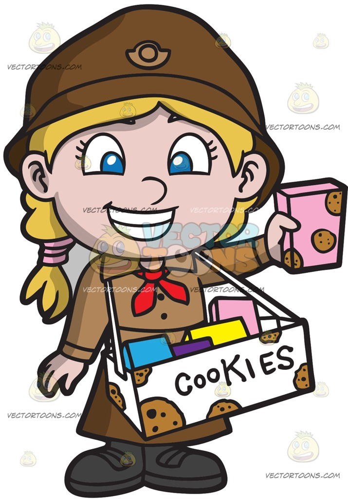 715x1024 A Cute Girl Scout Selling Cookies Cartoon Clipart Vector Toons