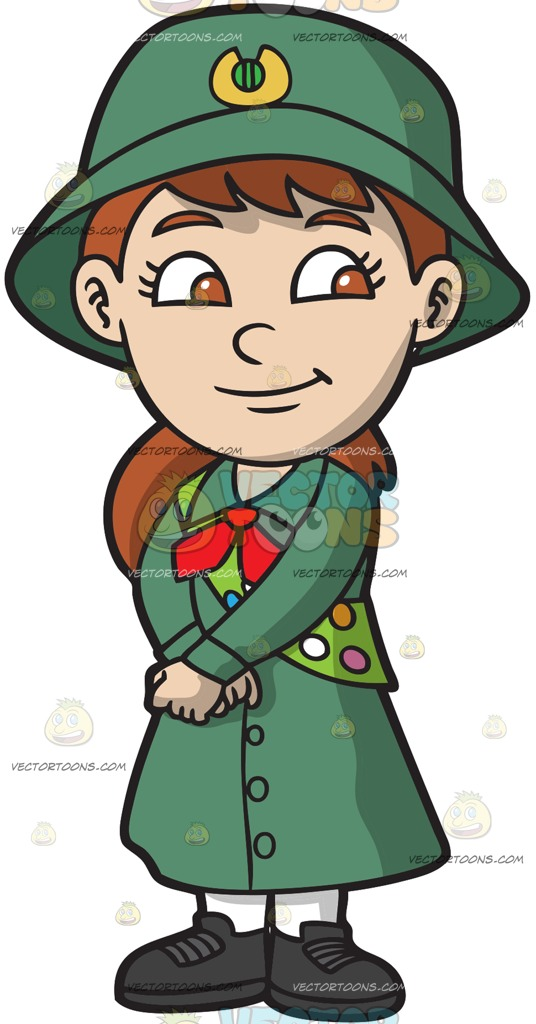 536x1024 A Pretty Girl Scout Cartoon Clipart Vector Toons