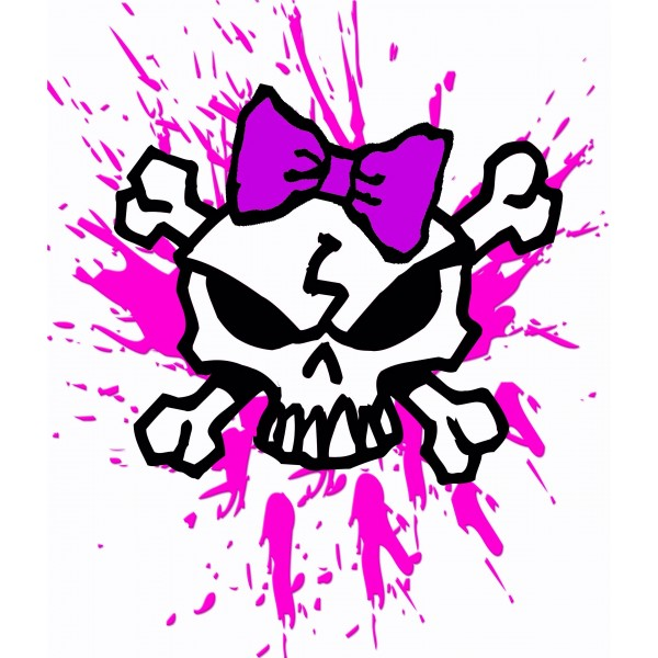 600x600 Girly Skull With Bow And Pink Blood Splatters, Girl Skull T Shirt