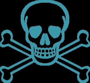 300x277 Skull Bones Pirates Danger Death Scary Vector Clip Art