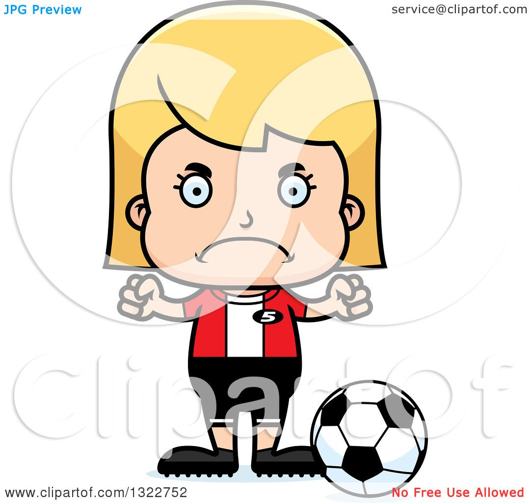 1080x1024 Clipart Of A Cartoon Mad Blond White Girl Soccer Player