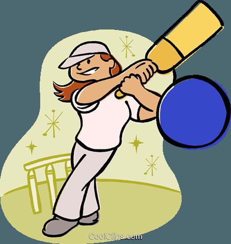 454x480 Girl Playing Cricket Royalty Free Vector Clip Art Illustration