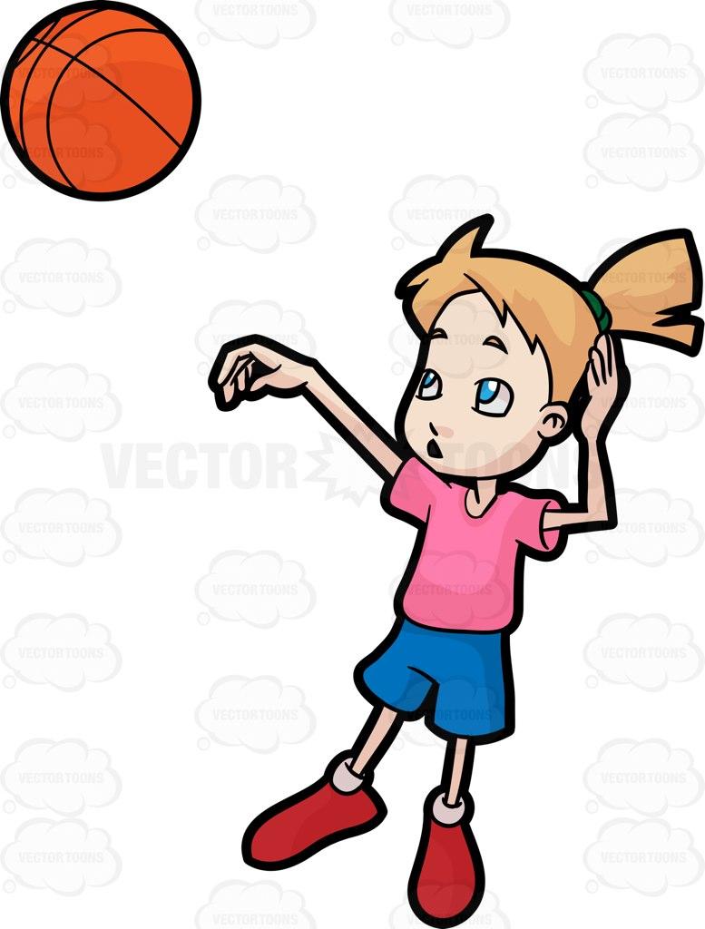 777x1024 A Girl Playing Basketball Cartoon Clipart Vector Toons