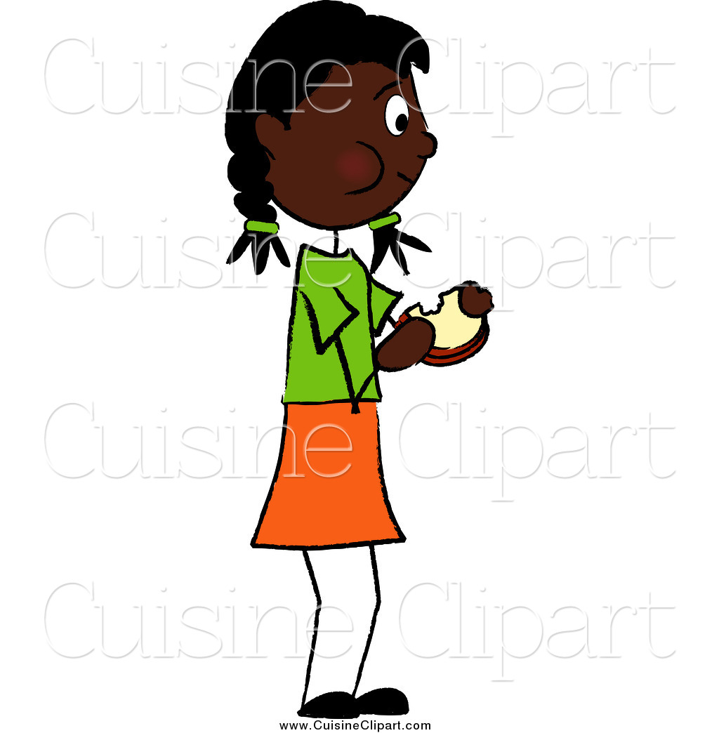 1024x1044 Cuisine Clipart Of A Black Girl Standing And Eating A Sandwich By